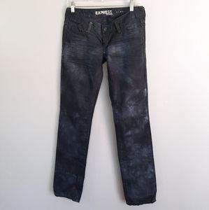 Express Zelda Skinny Gray Black Tie Dye Jeans